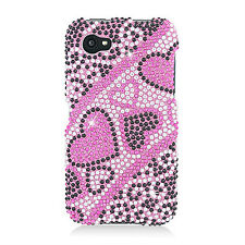 For AT&T HTC First Crystal Diamond BLING Hard Case Phone Cover Black R