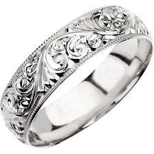 Wedding Band 7mm Hand Engraved Ring 14K White Gold Wedding Ring Milgrain Edge