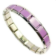 Italian Charm Bracelet Purple 18 Links Steel