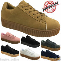 LADIES CREEPERS SHOES GIRLS LACE UP CHUNKY SOLE PLATFORM FLAT PUNK GOTH WOMENS