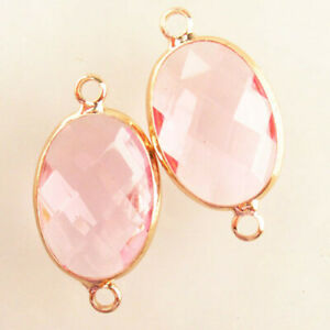 2Pcs Wrapped Faceted Pink Titanium Crystal Oval Pendant Bead H77630