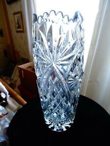 """Large vintage heavy lead crystal vase 10 3/4"""""""