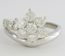 Flower Engagement / Right Hand Ring 1 ct Platinum Round Brilliant Cut Diamond