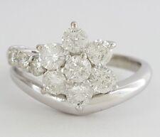 New listing 1 ct Platinum Round Brilliant Cut Diamond Flower Engagement / Right Hand Ring