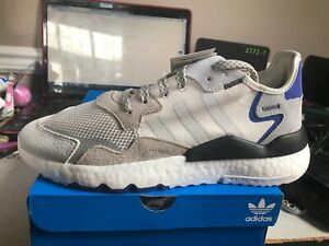*New* adidas Nite Jogger Sneakers F34124-Raw White/Grey One/Active Blue Size 10