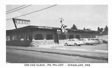 Postcard Coo Coo Clock Fountain Coffee Shop Restaurant Oceanlake, Oregon~116660
