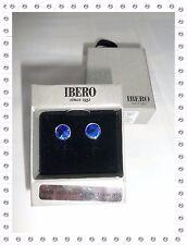 Boucles d'Oreilles Puces  Argentées et Elément Swarovski Bleu Ibero