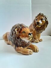 Pair of Ceramic Lions Antique Vintage Art Deco Decor