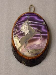 Unicorn Moon Shiny Shimmering Print Wood Wall Picture Decor Lacquered