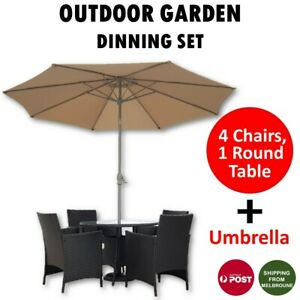 Outdoor Dining Set 5 Piece 4 Chairs, 1 Table with Umbrella Rattan Black Garden