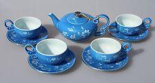 Finest Porcelain Tea Set Relief White Magnolia on Blue Dishwasher & Freezer Safe