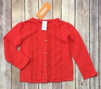 NWT Gymboree Sweater Size 2T Girls MOD ABOUT ORANGE red knit bow sleeve button