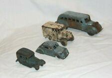 Lot Of 4 Antique Pressed & Cast Iron Vehicles 1930-1940 Milk Truck Greyhound Bus