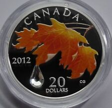CANADA $20 DOLLARS 2012 - MAPLE LEAF CRYSTAL RAINDROP PROOF SILVER
