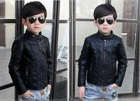 Children Coat Jackets Boys Clothing Leather Casual Turn-down Collar Jacket Black
