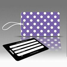 TagCrazy Polka Dot Luggage Tags, Purple & White, Durable Plastic Loops-1 Pk