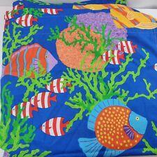 Lot - 9 Piece Thomaston Mills Curtain & Valance - Bright Colorful - Fish Print