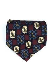 Paolo Gucci Tie 100% Silk Made In Italy Dog Animal Print Red Blue White Necktie