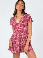 MOTEL ROCKS  Elara Tea Dress in Ditsy Rose Red Silver Size S 10 BNWT RRP £40