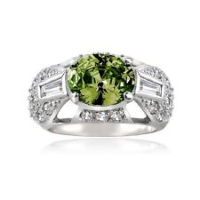 925 Sterling Silver Olive Green CZ and Simulated Diamon