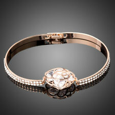 New Designer Luxury AAA Grade Clear White Zircon Rose Gold Plated Flower Bangle