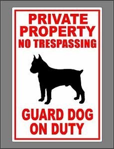 Metal Guard Dog On Duty Sign Private Property No Trespassing Pit Bull New