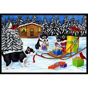 Carolines Treasures AMB1318JMAT Christmas Mush Siberian Husky Indoor or Outdo...