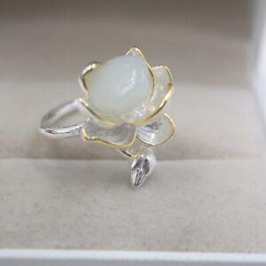 Sterling S925 Silver Nephrite Ring Women Luck Lotus Flower Shape Ring US6