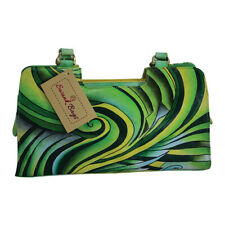Swank Bags Hand-Made and Painted Abstract Swirl Leather Handbag SB051-1