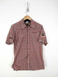 Tommy Hilfiger Snap Button Up Shirt Men Large Blue Red Checks Patches