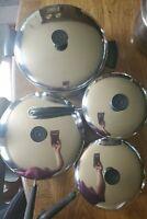 Vtg 8 Piece Revere Ware Copper Bottom Cookware double ring Pots Pans lids