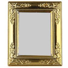 Dollhouse Miniature Gold Tone Small Square Wall Mirror ~ IM65398