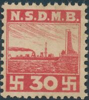 Stamp Germany Revenue WWII War Era NSDMB Marine Dues 30 Red MNG
