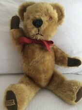 "Vintage Merrythought Teddy Bear 16"" Brown Gold Mohair Jointed Made In England"
