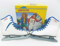 Lake Placid Double Runner Blade Skates Girls Size 1 Model 550 White Blue Laces