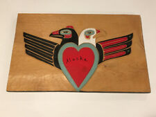Northwest Coast Tlingit Alaska Carved Wood Plaque With Abalone Inlay Love Birds