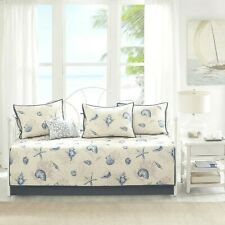 Coastal Daybed Bedding Cover Set Ivory Blue Shell Starfish Comforter Sham Pillow
