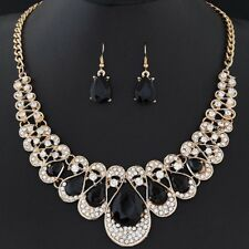 Fashion Women Bib Chain Pendant Choker Statement Crystal Necklace Earrings Set