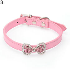 EG_ Crystal Bling Bowknot Pet Cat Kitten Puppy Suede Collar With Bell Hot