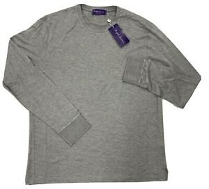 $500 Ralph Lauren Purple Label Gray Silk Long Sleeve T-Shirt Large Made in Italy