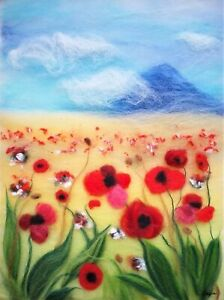 'Poppy field' Wool Fibre Painting Felting Picture Original Artwork by Raya Brown