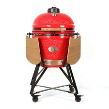 "YNNI KAMADO 25"" RED XL Chip Feeder Kamado Oven BBQ Grill incTrolley TQ0C25RE"