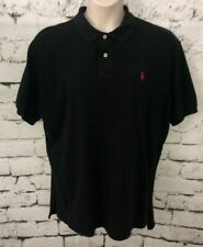 Polo Ralph Lauren Mens Shirt Polo Short Sleeve Black 100% Cotton Red Pony  XXL