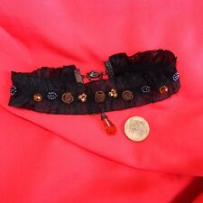 Victorian style stretch black frill stretch embellished choker - Gypsy Goth