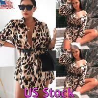 US Women Sexy Leopard Shirt Dress Ladies Long Sleeve Button Mini Dress Clubwear