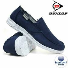 MENS DUNLOP MEMORY FOAM NAVY CANVAS CASUAL LOAFERS DRIVING DECK SHOES UK 8-12