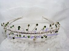 Bonito Linzi Jay Dama de Honor Boda Tiara Diadema Plata Cristal Verde #2