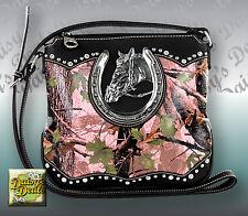 Montana West Horse & Horseshoe Camouflagee Cross body Bag-Pink
