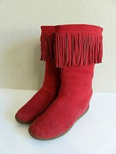 Skechers SKCH+3 Red Leather Suede Fringed Moccasin Boots Womens 9 EU 39