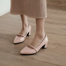 Women Pointy Toe Heels Mid Cone Pumps Casual Party Mary Jane Buckle Office Shoes